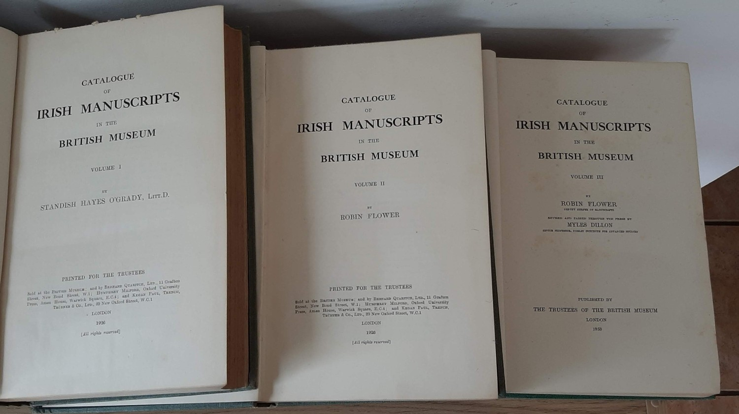Catalogue of Irish Manuscripts in the British Museum, complete in 3 vols. Vol I – Standish O' - Image 2 of 2