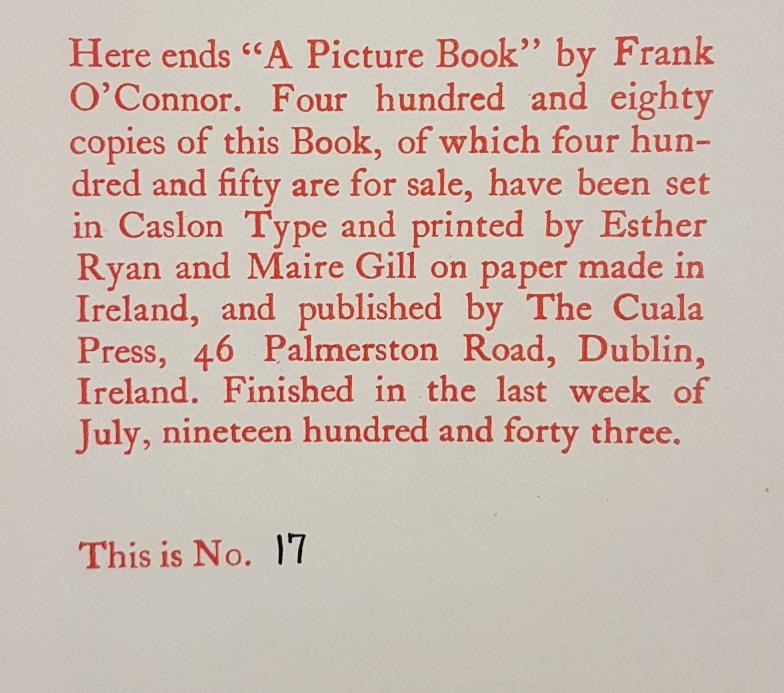 O'Connor, Frank. A Picture Book by Frank O'Connor. With illustrations by Elizabeth Rivers. Dublin: - Image 3 of 4