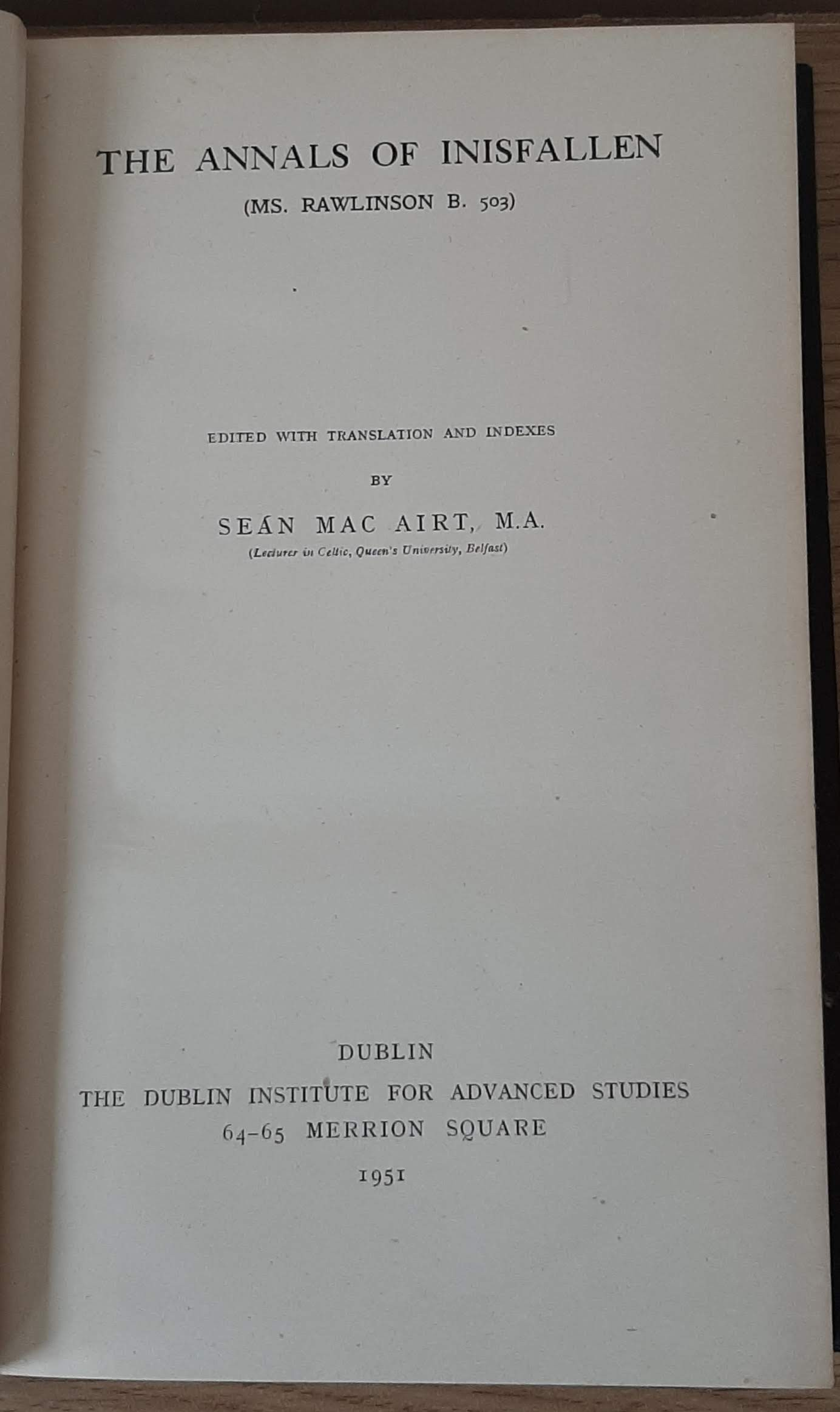 The Annals of Inisfallen (Mac Airt, 1951, 1st). - Image 2 of 3