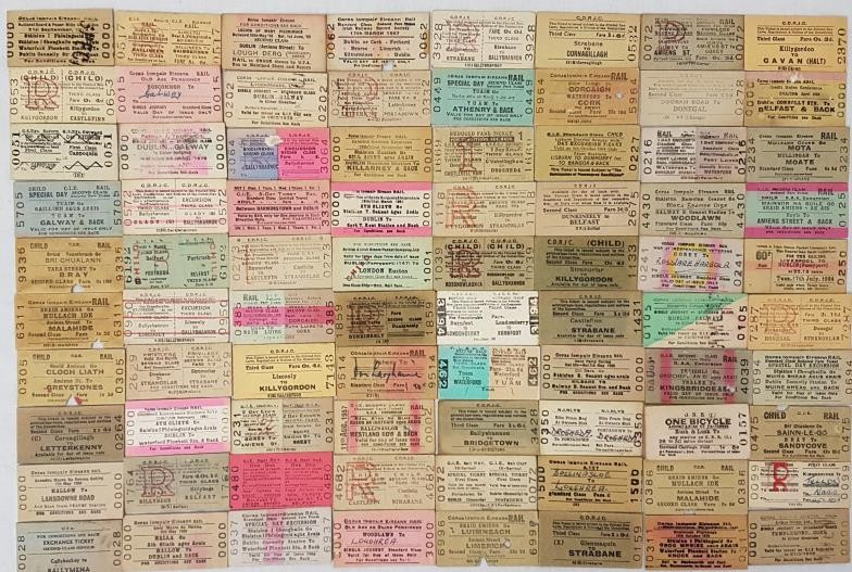 Irish Railway Tickets. Collection of approximately 200 vintage and historical tickets. Many closed