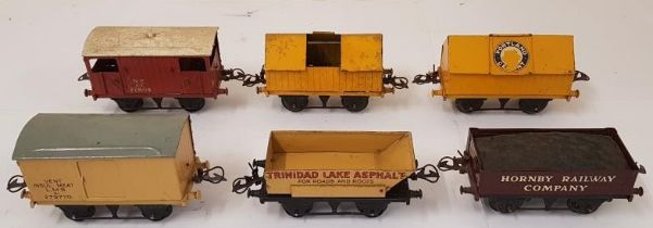 Collection of Six Hornby Wagons including Hornby Railway Company, Portland Cement, Vent Insul Meat