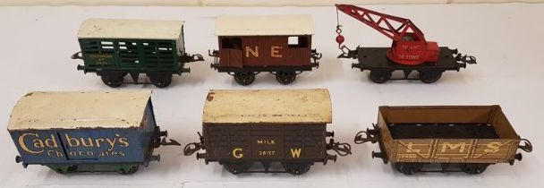 Collection of Six Hornby Wagons including Cadbury's Chocolate, G.W. Milk, L.M.S. etc. (6)