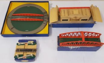 Collection of Four Hornby Dublo OO Gauge Accessories to include D1 Turntable, D1 Through Station, D1
