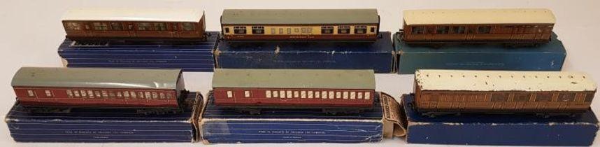 Collection of Six Hornby Dublo OO Gauge Coaches - D11 Passenger Wagon; D12 Corridor Coach B.R.