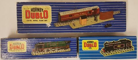 Collection of Three Hornby Dublo OO Gauge Locomotives, 3 Rail and 2 Rail - T.P.O. Mail Van Set;