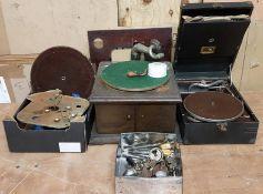 HMV Travel Gramophone, Table Top Gramophone and Gramophone Parts