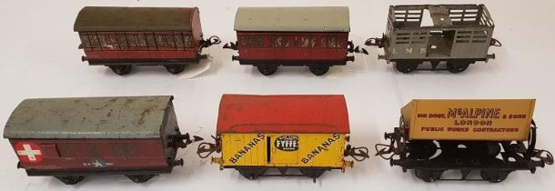 Collection of Six Hornby Wagons including Ambulance Coach, Fyffes Blue Label Brand Bananas, Sir