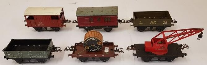 Collection of Six Hornby Wagons including LMS Liverpool Cables, LMS Open Truck, To Lift 10 Tons