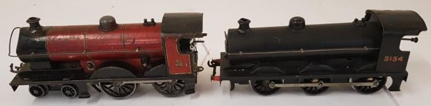 Bassett-Lowke 4-4-0 clockwork loco and another unmarked similar (2)