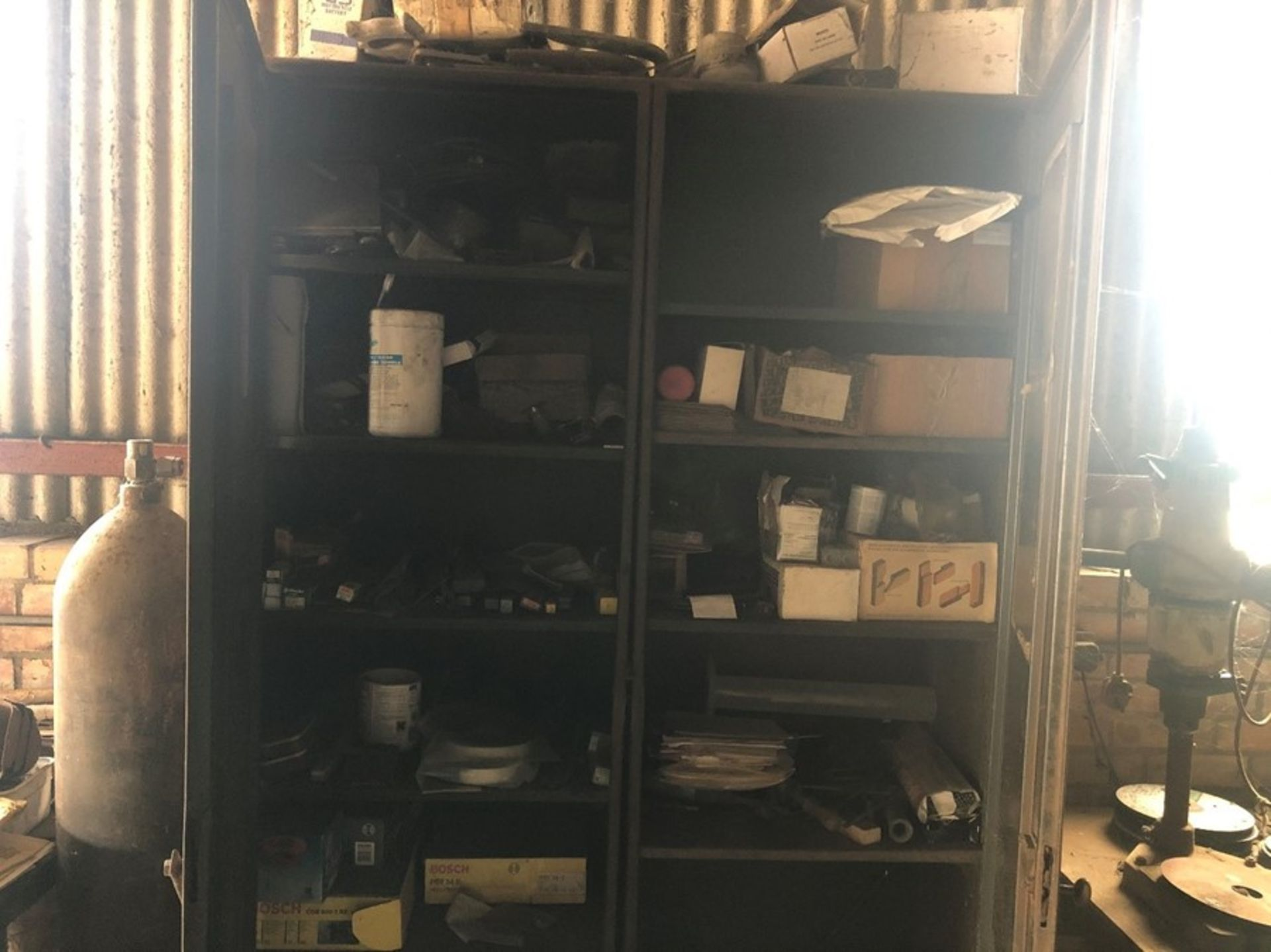 Metal workshop cabinets and contents of drill bits and spares - Passed PAT test
