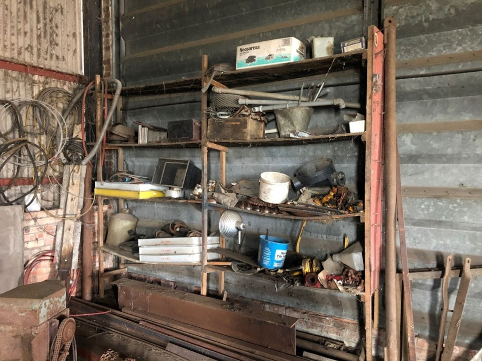 Workshop shelves & contents - Failed PAT test