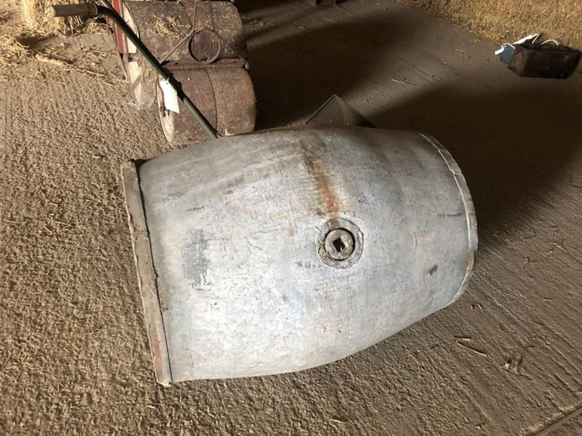 Galvanised cylindrical barrel