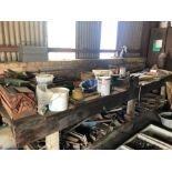 Wooden workshop bench with heavy duty vice and contents