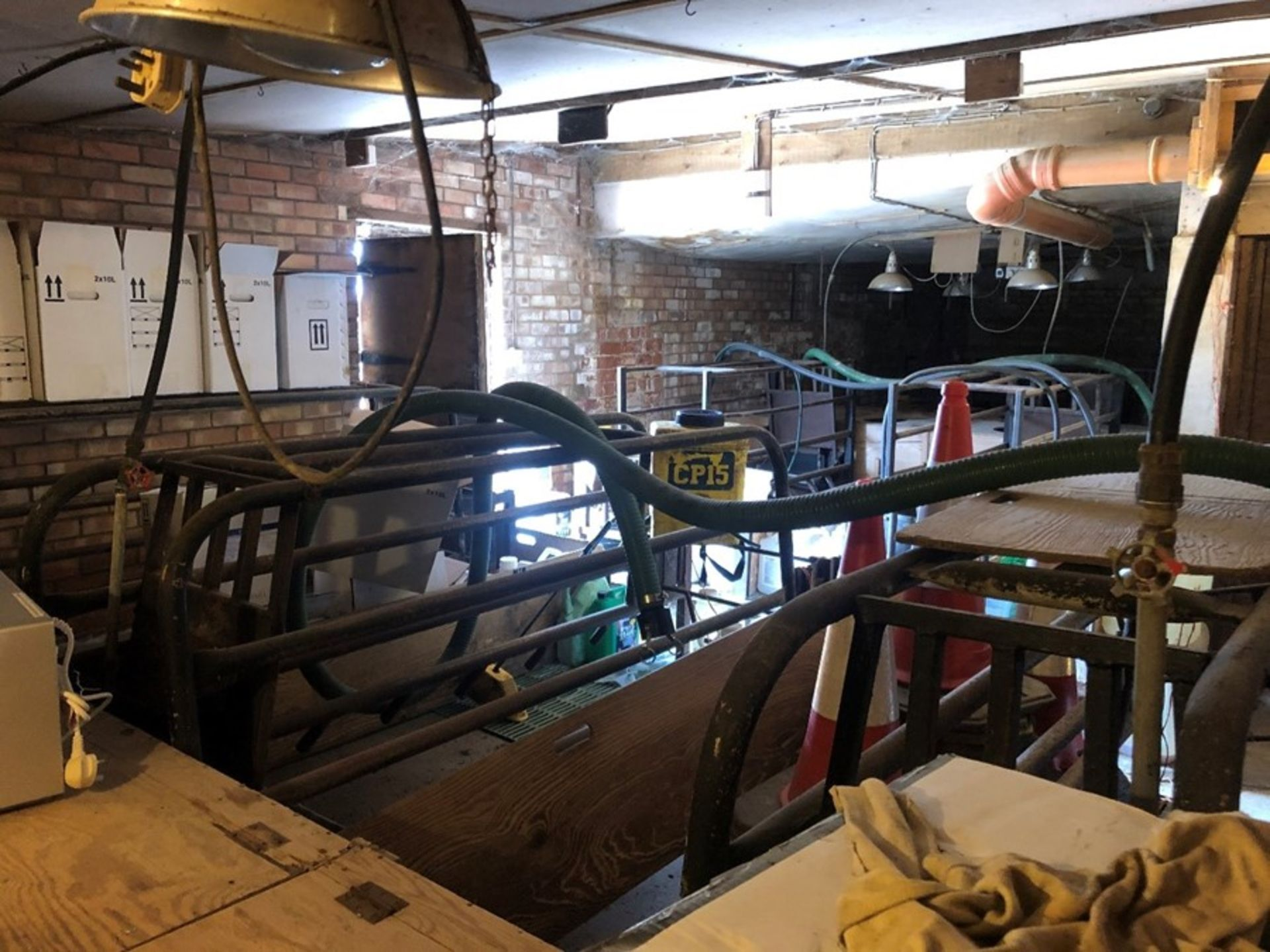 7 farrowing crates, cast iron slatted floors, weaner boxes (sold in situ, buyer to dismantle)