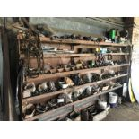 Wooden pigeon hole parts rack and contents