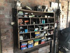 Wooden rack of various lorry parts and tools and set metal drawers