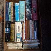 4 CARTONS OF HARDBACK & PAPERBACK BOOKS, PAINTING, TRAVEL ETC