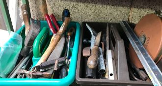 QTY OF TOOLS INCL; HAMMERS, RULES, MEASURING TAPE ETC