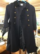 CHILD'S NAVY BLUE WOOLLEN COAT WITH GOLD BUTTONS - NAVAL THEME, SIZE 5 YEARS