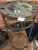 METAL PLANT STAND WITH TILED TOP 24.5'' HIGH