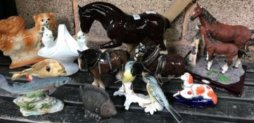QTY OF CHINA ANIMALS, HORSES, DOGS, FISH, BIRDS ETC