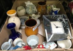 2 CARTONS OF ASSORTED CHINAWARE INCL; PLATES, JUGS, CANDLE HOLDERS ETC
