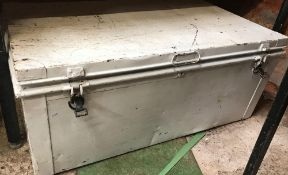LARGE WHITE PAINTED METAL STORAGE CHEST- EMPTY