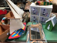 SELECTION OF SEA THEMED OBJECTS INCL; SAILING BOATS, MIRROR, PARROT ETC