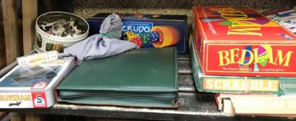 SHELF OF ASSORTED GAMES INCL; SCRABBLE, MONOPOLY ETC