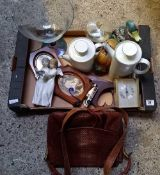 CARTON OF VARIETY OF OBJECTS INCL; LADIES HAND BAG, CHINA TEA POT, HEAVY METAL DOOR STOP ETC
