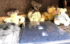 QTY OF SMALL PLUSH TEDDY BEARS & HOT WATER BOTTLE