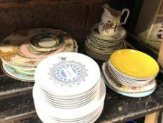SHELF & HALF OF ASSORTED CHINAWARE INCL; PLATES, SAUCERS, JUGS, GLASSES ETC