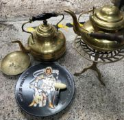 2 BRASS PERIOD KETTLES & OTHER ITEMS