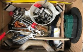 CARTON OF ASSORTED TOOLS INCL; SPANNER & SOCKET SETS ETC