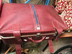 SUITCASE OF MODERN MATERIAL, TABLE CLOTHS ETC
