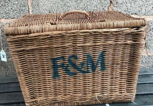 WICKER BASKET MARKED F&M