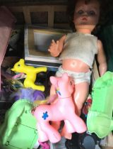 BAG OF MIXED LP'S, CARTON OF CHILDREN'S TOYS INCL; A DOLL & CARTON OF BBQ UTENSILS