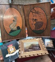 CARTON WITH 2 PAINTED WOODEN WALL PICTURES, A TIN ADVERTISING TRAY & 2 PICTURES, 1 OF THE