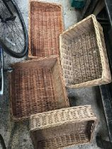 4 OPEN TOP WICKER BASKETS