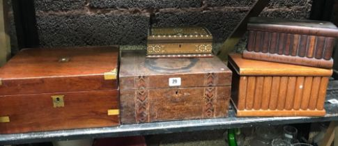 5 VINTAGE WOODEN BOXES, SOME INLAID