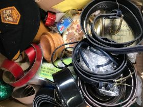 CARTON OF MIXED BELTS, PHOTO FRAMES & BRIC--BRAC