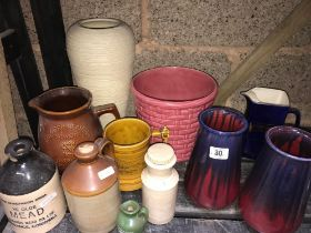 PART SHELF OF VASES, PUB JUGS & STONE JARS