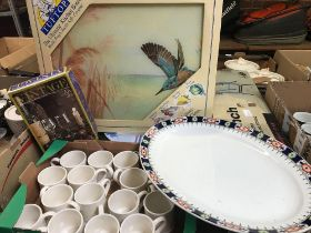 CARTON WITH MIXED PLATES, COFFEE CUPS, GLASSWARE, KITCHEN BOARD & OTHER ITEMS