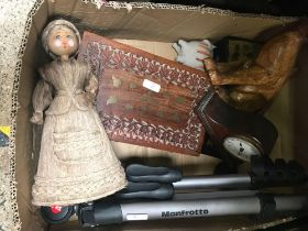 3 CARTONS OF MIXED BRIC-A-BRAC INCL; CAMERA, TRIPOD, PLATEDWARE, KITCHEN SCALE & CURVED GLASS