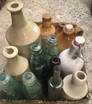 2 CARTONS OF VARIOUS VINTAGE GLASS & POTTERY BOTTLES