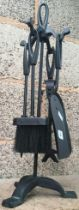 NEW WROUGHT IRON COMPANION SET ON STAND