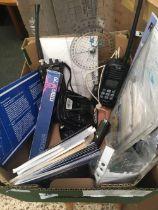 CARTON OF MARINE ITEMS INCL; SHIP TO SHORE RADIO, GPS, EAGLE CUDA 300 FISH FINDER, MARITIME CHARTS &