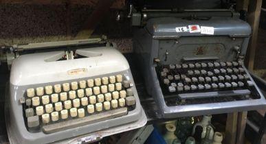 VINTAGE ADLER PORTABLE TYPE WRITER IN METAL CASE & VINTAGE UPRIGHT IMPERIAL DESK TOP TYPE WRITER