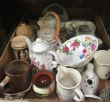 2 CARTONS OF MAINLY VINTAGE OTTERY & CHINA & APPROX 20 VARIOUS MUGS ETC
