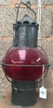 VINTAGE MARITIME LANTERN WITH RED GLASS GLOBE